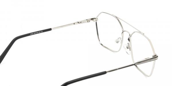 Geometric Aviator Black & Silver Spectacles - 5