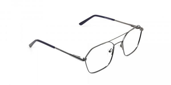 Geometric Aviator Dark Grey Gunmetal Spectacles - 2