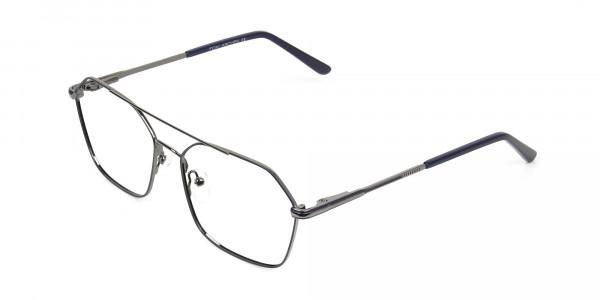 Geometric Aviator Dark Grey Gunmetal Spectacles - 3
