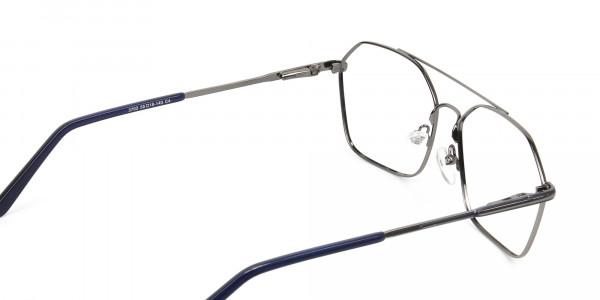Geometric Aviator Dark Grey Gunmetal Spectacles - 5