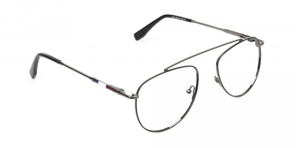 Silver & Dark Navy Thin Metal Aviator Frame Glasses - 2