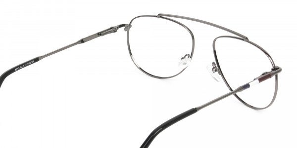 Silver & Dark Navy Thin Metal Aviator Frame Glasses - 5