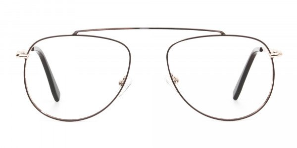 Gold & Brown Thin Metal Aviator Glasses - 1