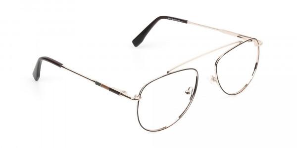 Gold & Brown Thin Metal Aviator Glasses - 2