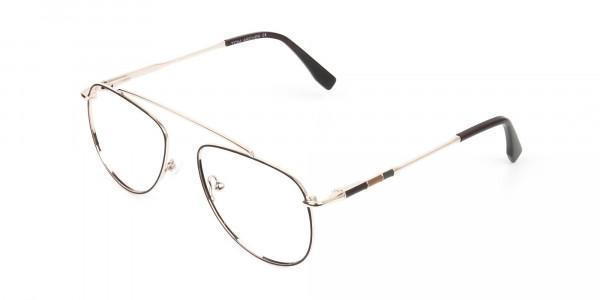 Gold & Brown Thin Metal Aviator Glasses - 3
