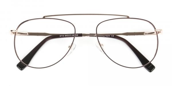 Gold & Brown Thin Metal Aviator Glasses - 6