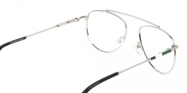 Silver & Dark Green Aviator Glasses - 5
