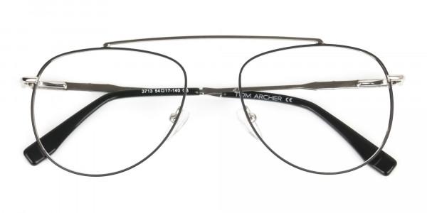 Silver & Dark Green Aviator Glasses - 6
