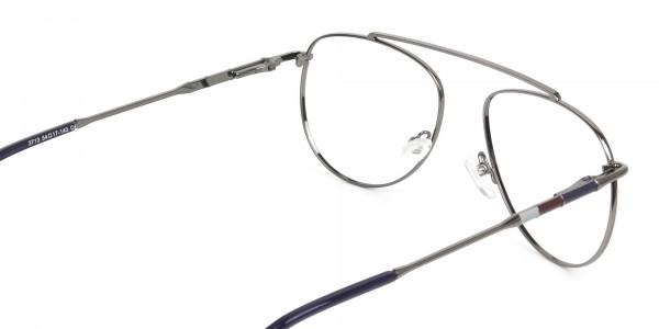 Gunmetal & Dark Navy Thin Metal Aviator Glasses - 5