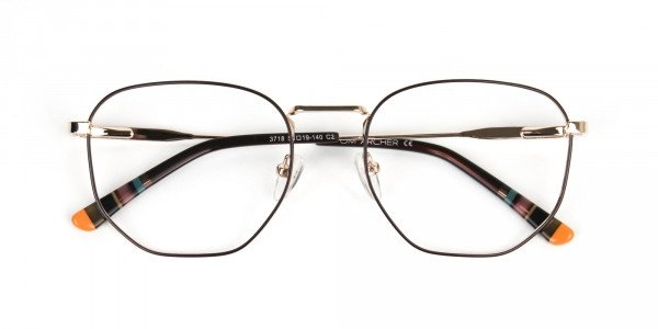 Geometric Brown & Gold Spectacles - 6