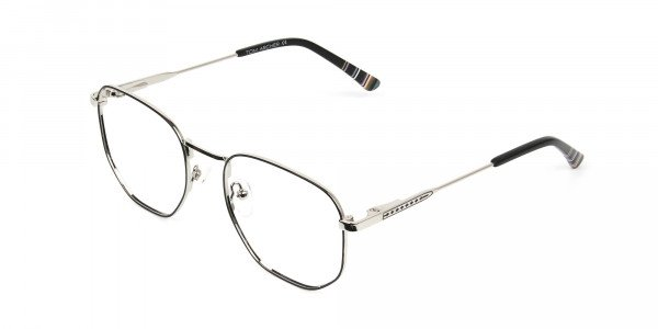Geometric Black & Silver Spectacles - 3