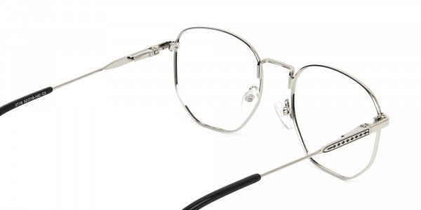 Geometric Black & Silver Spectacles - 5