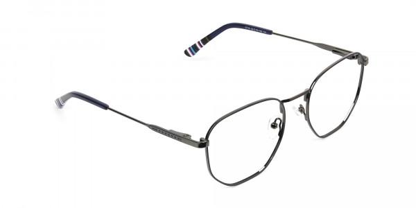 Geometric Blue Gunmetal Spectacles - 2