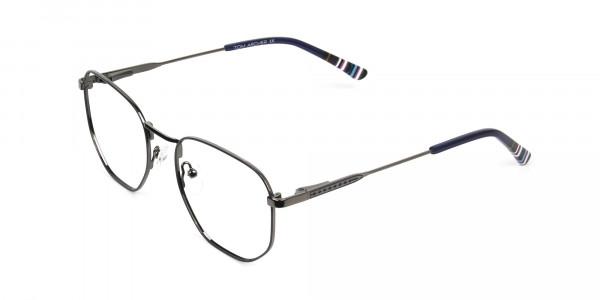 Geometric Blue Gunmetal Spectacles - 3