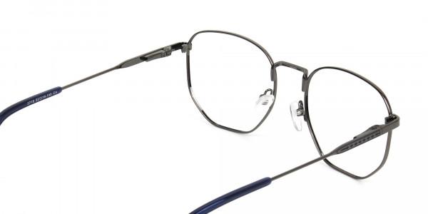 Geometric Blue Gunmetal Spectacles - 5