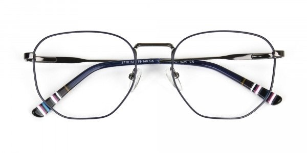Geometric Blue Gunmetal Spectacles - 6