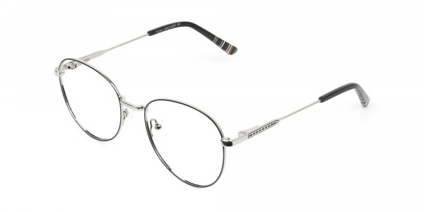Black & Silver Weightless Metal Round Glasses - 3