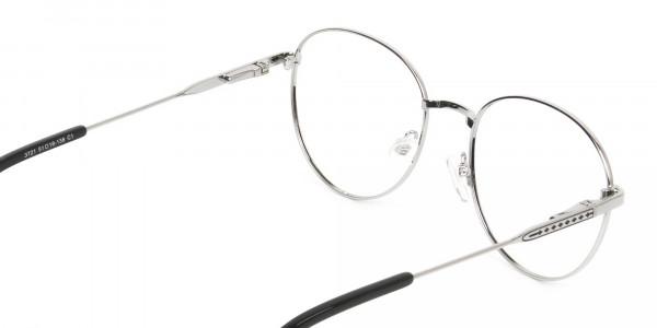Black & Silver Weightless Metal Round Glasses - 5