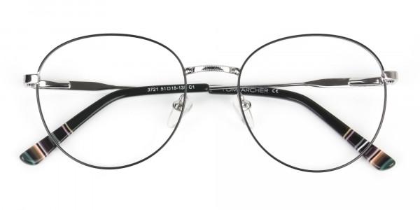 Black & Silver Weightless Metal Round Glasses - 6