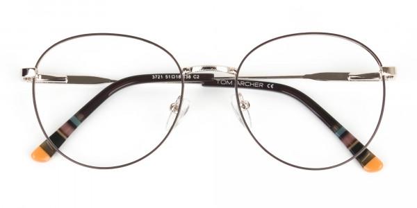 Brown & Gold Weightless Round Glasses - 6