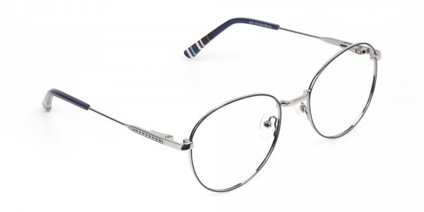 Navy Blue Silver Weightless Metal Round Glasses - 2