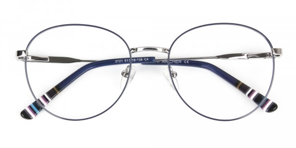 Navy Blue Silver Weightless Metal Round Glasses - 6