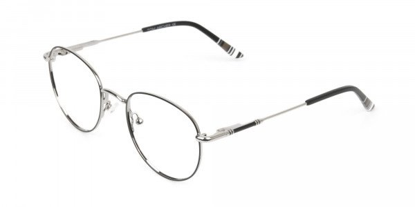 Lightweight Black & Silver Round Spectacles  - 3