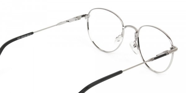 Lightweight Black & Silver Round Spectacles  - 5
