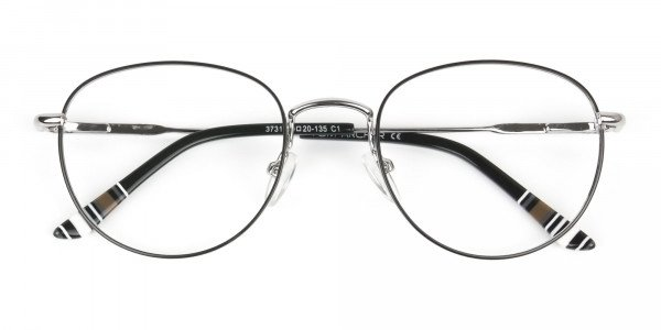 Lightweight Black & Silver Round Spectacles  - 6
