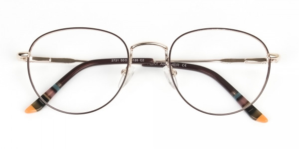 Lightweight Gold  & Brown Round Spectacles - 6