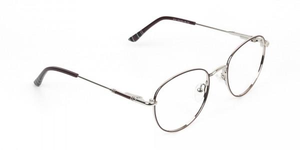 Lightweight Burgundy & Silver Round Spectacles - - 2