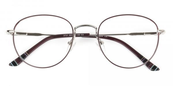 Lightweight Burgundy & Silver Round Spectacles - 6