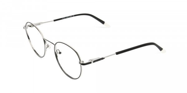 Black & Silver Round Spectacles - 3