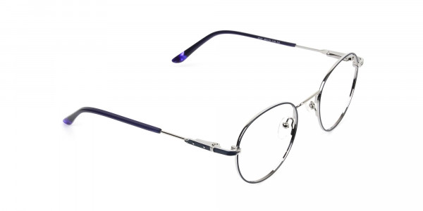 Royal Blue Silver Round Spectacles - 2