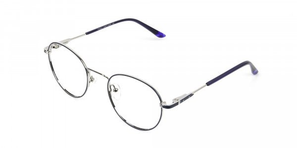 Royal Blue Silver Round Spectacles - 3