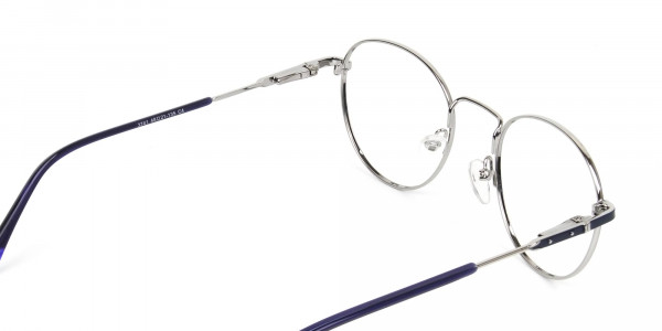 Royal Blue Silver Round Spectacles - 5