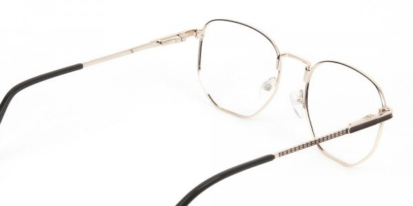 Lightweight Gold and Brown Geometric Glasses - 5