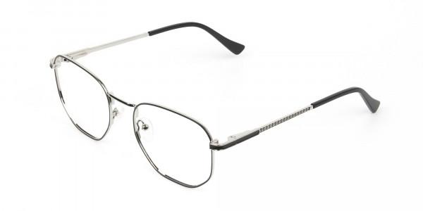 Lightweight Black & Silver Geometric Glasses - 3