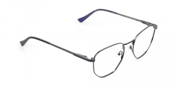 Lightweight Silver & Blue Geometric Glasses - 2