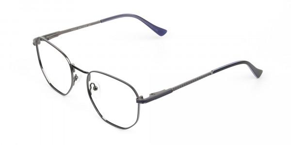 Lightweight Silver & Blue Geometric Glasses - 3