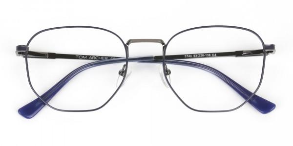 Lightweight Silver & Blue Geometric Glasses - 6