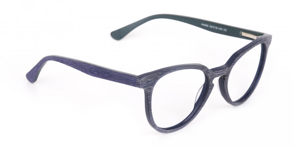 Dusty Green and Blue Round Wood Glasses Unisex-2