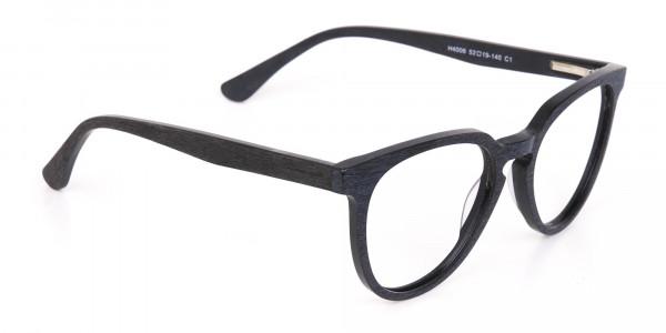 Black Wood Round Glasses Frame Unisex-2