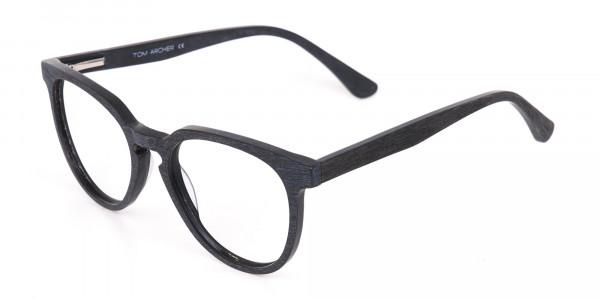 Black Wood Round Glasses Frame Unisex-3