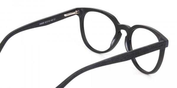 Black Wood Round Glasses Frame Unisex-5