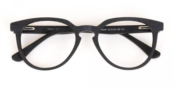 Black Wood Round Glasses Frame Unisex-6