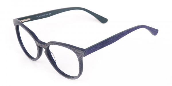 Dusty Green and Blue Round Wood Glasses Unisex-3