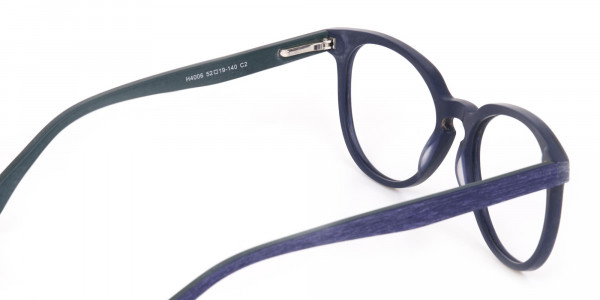 Dusty Green and Blue Round Wood Glasses Unisex-5