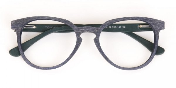 Dusty Green and Blue Round Wood Glasses Unisex-6
