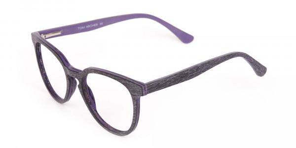 Purple Dark Violet Wood Glasses Frame Unisex-3